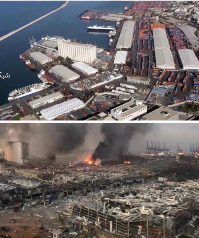 بندر بیروت قبل و بعد از انفجار