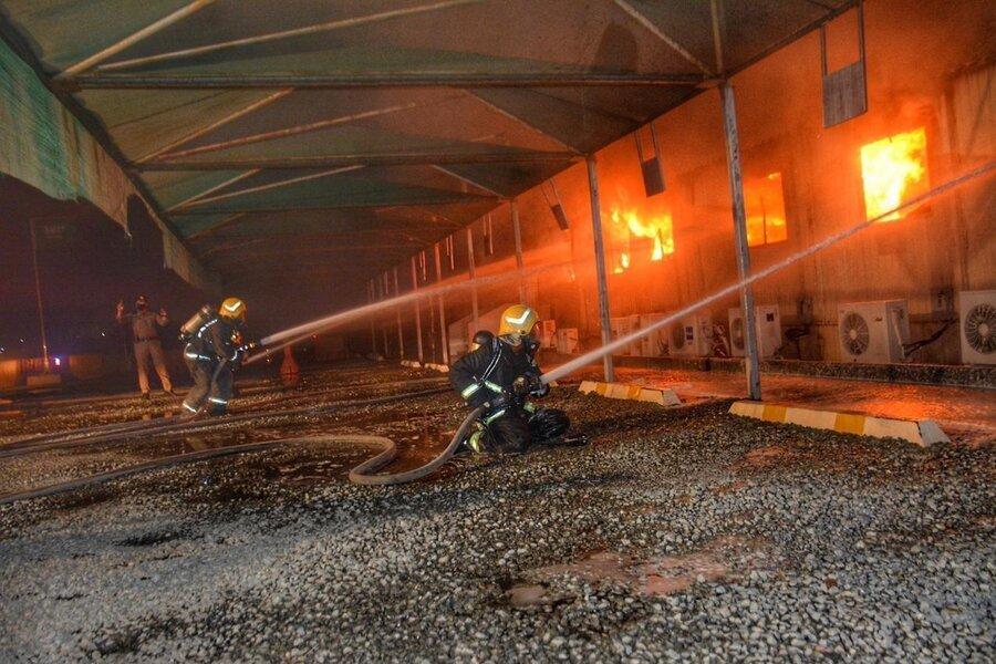 آتش سوزی ایستگاه قطار عربستان
