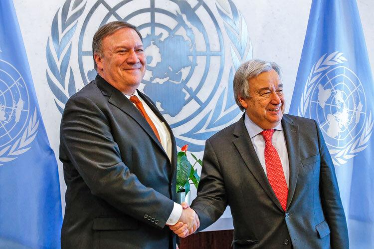 مايك پمپئو و آنتونيو گوترش دبير كل سازمان ملل