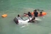 ویدئو | لحظه سقوط پژو ۴۰۵ به دریا در قشم