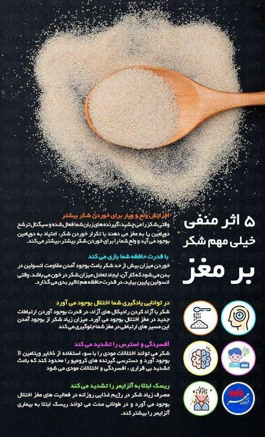 ۵ اثر منفی شکر بر مغز