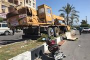 تصاویر | جرثقیل غولپیکر در قشم حادثه آفرید