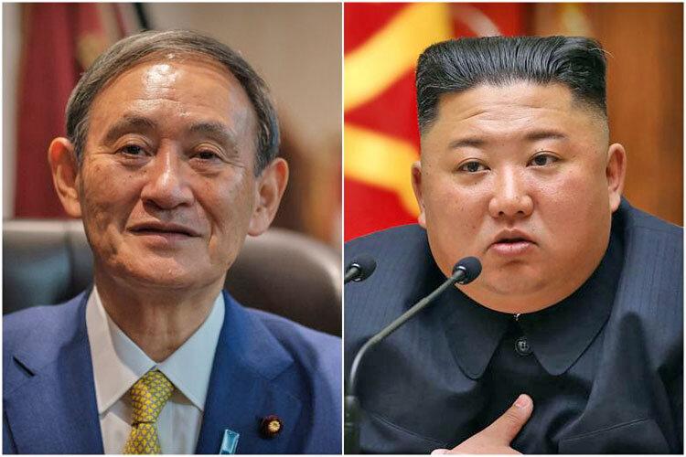 سوگاه يوشيهيده نخستوزير ژاپن و كيم جونگ اون رهبر كره شمالي