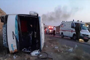 خودرو کارمندان سفارت پاکستان در محور بم واژگون شد