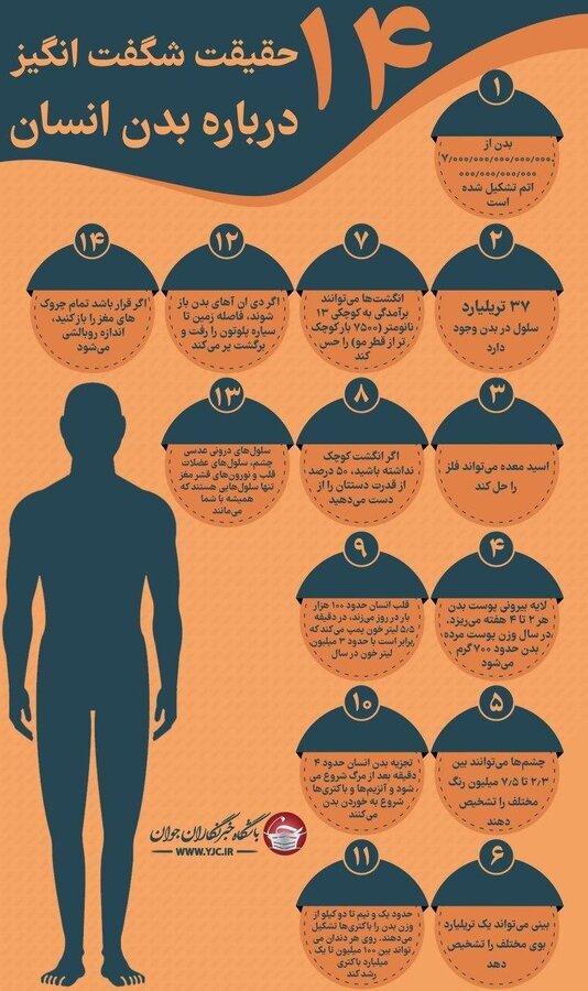 ۱۴ حقیقت شگفت انگیز درباره بدن انسان