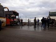 تصادف زنجیرهای ۴ اتوبوس در سیرجان