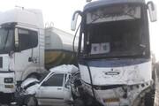 تصادف زنجیرهای در کولاک آزادراه زنجان - قزوین