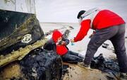 ۳ ساعت تلاش در عملیات نجات از باتلاق دریاچه ارومیه