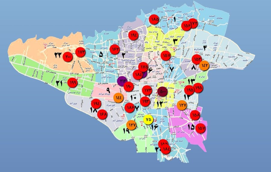 کیفیت هوای تهران در عصر ۲۳ دی ۱۳۹۹