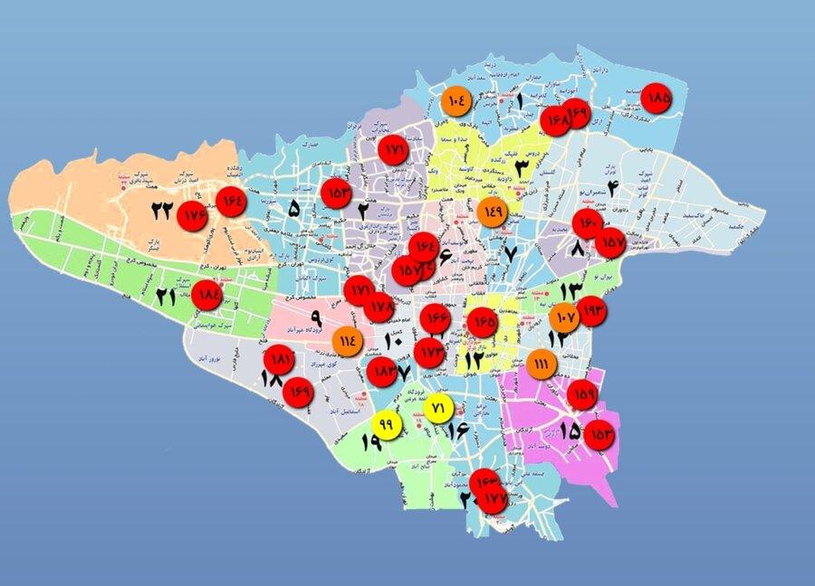 کیفیت هوای تهران در صبح ۲۴ دی ۹۹