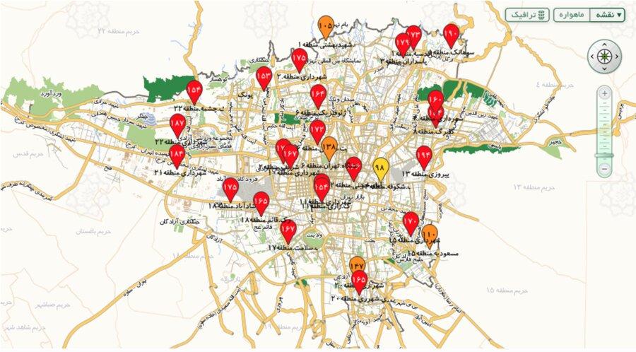 وضعیت هوای تهران در ساعت ۱۲ چهارشنبه ۲۴ دی ۹۹