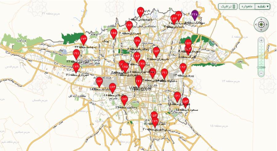 کیفیت هوای تهران ساعت ۲۱ چهارشنبه ۲۴ دی ۹۹