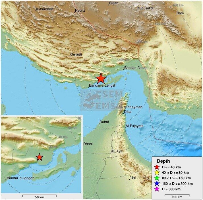 نقشه زلزله هرمزگان