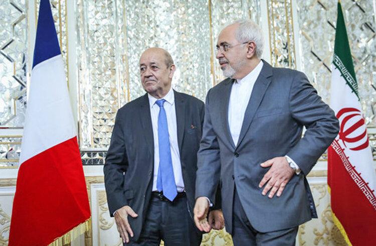 محمدجواد ظريف و لودريان وزير خارجه فرانسه