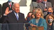 لحظه ادای سوگند چهل و ششمین رئیس جمهوری آمریکا + عکس