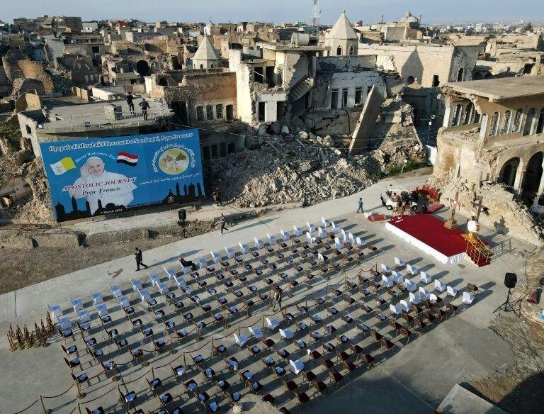 تصاویر ا بازدید پاپ از موصل و کلیسای طاهره ا نباید در برابر تروریسم سکوت کرد