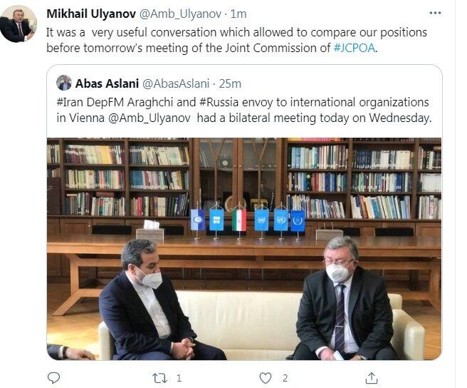 توئیت اولیانوف بعد از دیدار با عراقچی