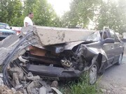 تصاویر | سقوط تیر چراغ برق روی پراید | نجات معجزهآسای راننده از میان آهنپارهها