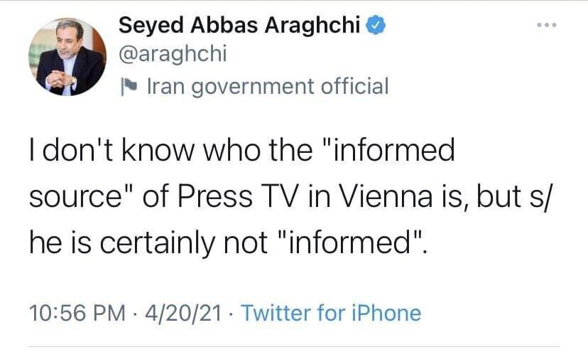 عراقچی باز هم ادعاهای «منبع مطلع» پرس تیوی درباره مذاکرات وین را تکذیب کرد