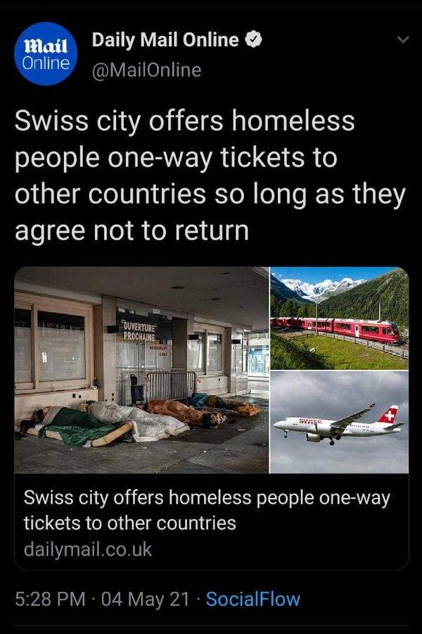 پیشنهاد عجیب مقامات سوئیس برای بی خانمان ها