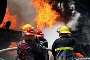 مهار آتش سوزی در یک شرکت صنعتی قزوین