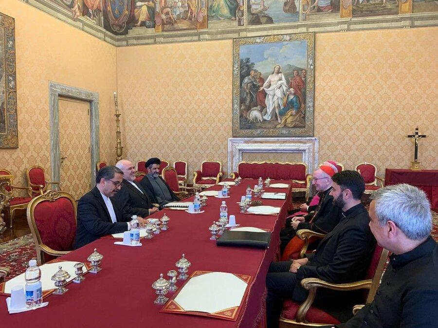 دیدار ظریف با کاردینال پارولین نخست وزیر  و اسقف اعظم گالا گر
