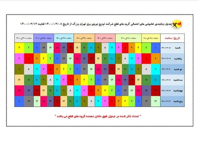 جدول جدید خاموشیهای تهران منتشر شد