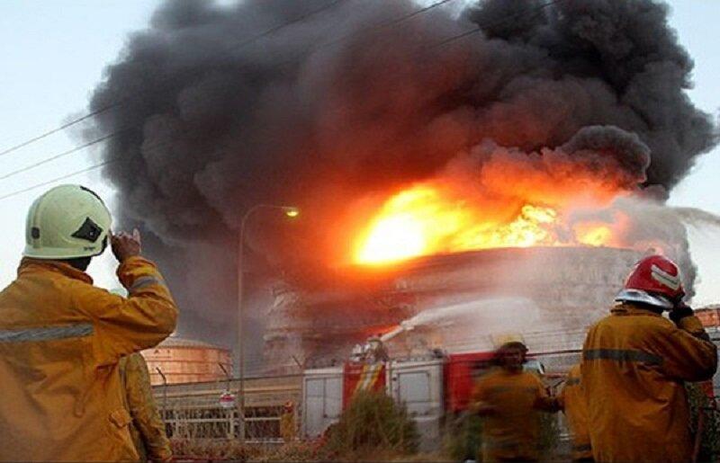 آتش سوزی پالایشگاه نفت تهران