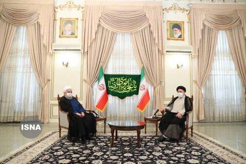اولین تصاویر از حضور حسن روحانی در دفتر رئیسی