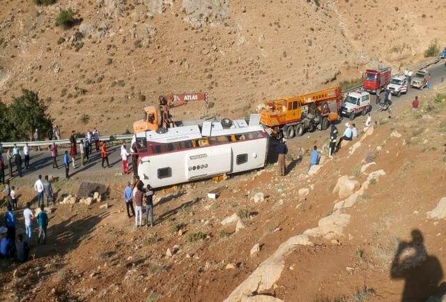 واژگونی اتوبوس خبرنگاران