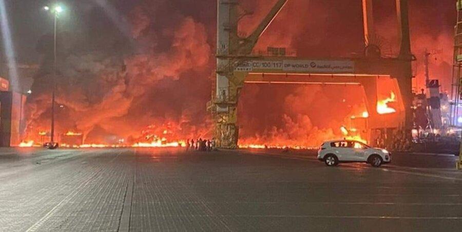 ویدئو  انفجار مهیب در بندر «جبل علی» در دبی