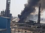 ویدئو | حریق در منطقه ویژه اقتصادی پتروشیمی خوزستان | آتش مهار شد