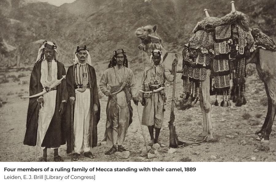 چهار عضو خانواده حاكم مكه در كنار شترشان در سال 1267