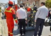 آتشسوزی گسترده در کارگاهی در خیابان قزوین | یک خودرو کامل سوخت