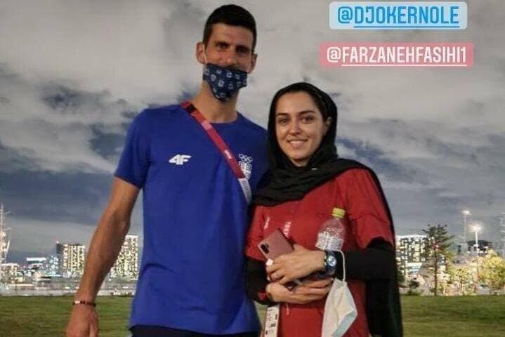 عکس یادگاری دختر دونده ایران و مرد شماره یک تنیس جهان در المپیک