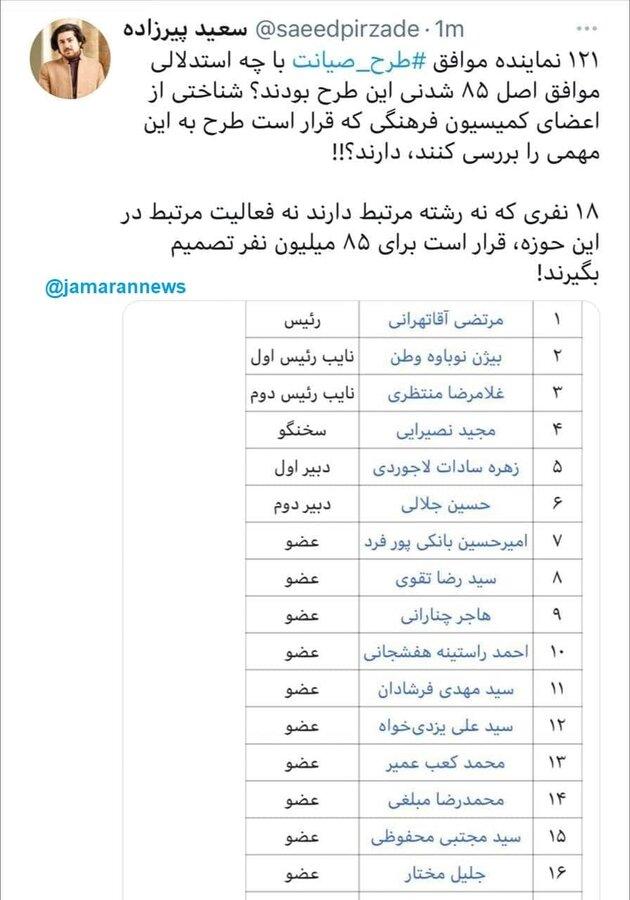 اسامی ۱۸ نفری که قرار است برای بستن اینترنت تصمیم بگیرند