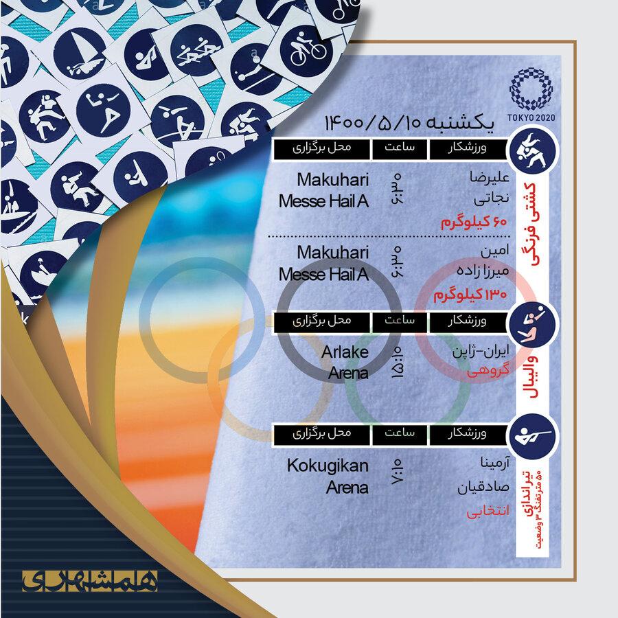 جدول   المپیک از فردا برای ایران شروع میشود