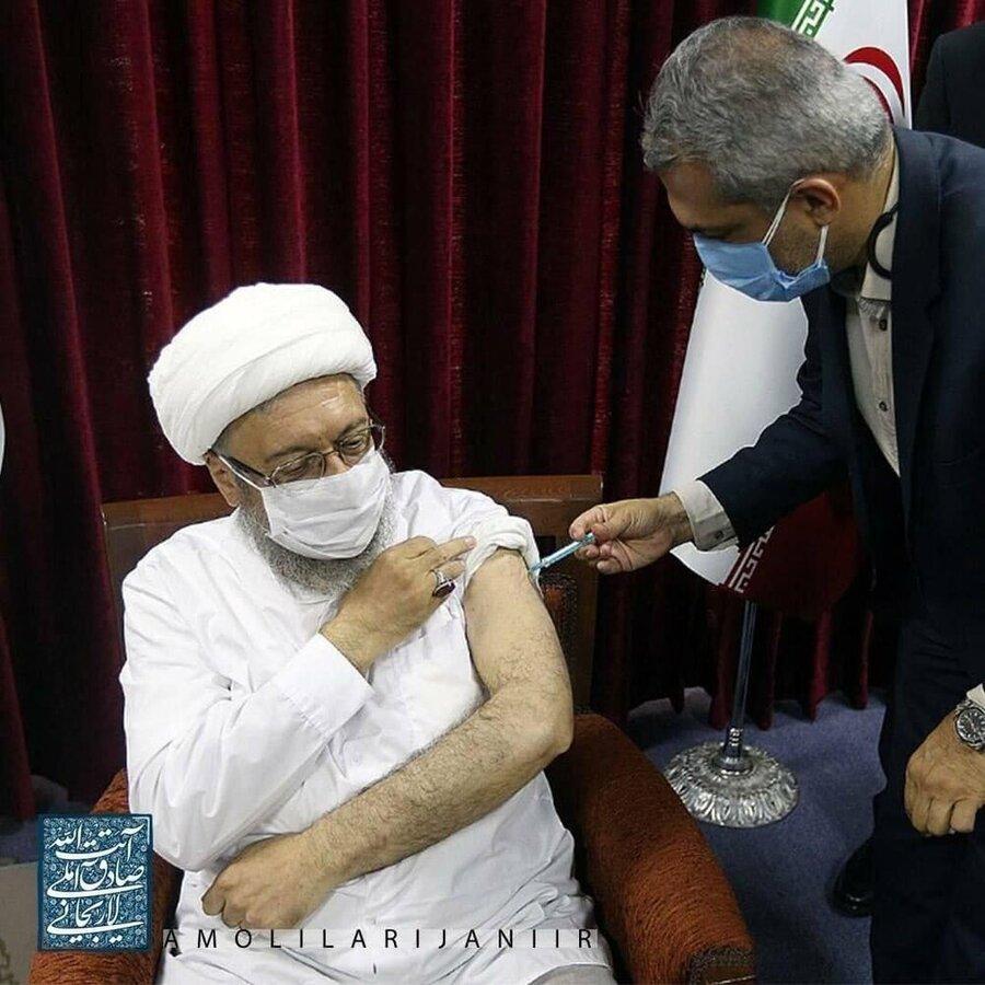 عکس  صادق لاریجانی، واکسن زد