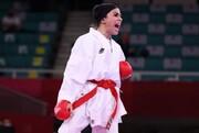 تصاویر | کار بزرگ بانوی کاراته کار ایران در توکیو | زانو زدن قهرمان جهان مقابل بهمنیار در المپیک