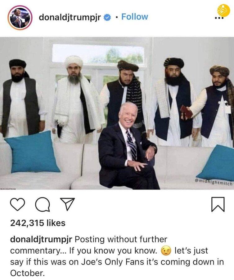 عکس دستکاری شدهای که پسر دونالد ترامپ از بایدن منتشر کرد